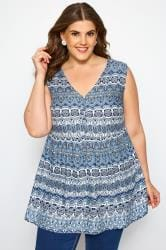 Blue Tile Print Smock Blouse