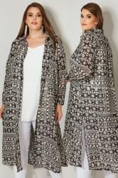 YOURS LONDON Black & White Tribal Print Maxi Shirt