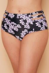 WOLF & WHISTLE Black & Purple Floral Print Bikini Bottoms With Cage Detail