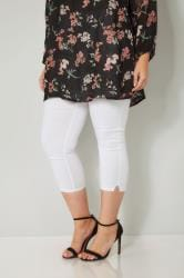 White Bengaline Cropped Pull On Trousers