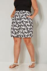 White & Black Butterfly Print Woven Shorts