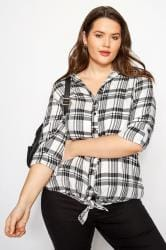 White & Black Check Stud Tie Front Shirt