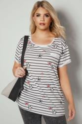 White & Black Stripe & Star Print Pocket T-Shirt