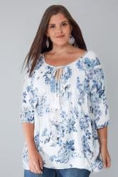 White & Blue Chambray Floral Blouse With Sequin Detail
