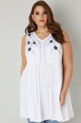 White & Blue Floral Embroidered Tiered Longline Top