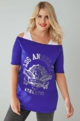 "White & Blue ""Los Angeles"" Print 2 In 1 Bardot Top"