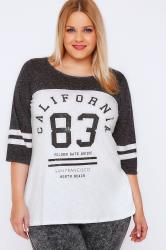 "White & Charcoal Colourblock Varsity ""California"" Slogan Top"