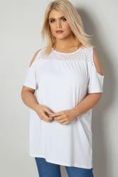 White Cold Shoulder Lace Yoke Top