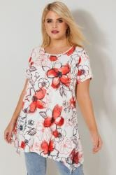 White & Coral Floral Print Lace Hanky Hem Top With Diamante Embellishments