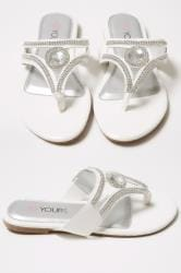 White Diamante Embellished Toe Post Flat Sandals In True EEE Fit