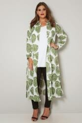 White & Green Palm Leaf Print Maxi Shirt