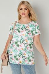 White & Green Tropical Floral Pocket T-Shirt