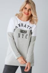 White & Grey 'Manhattan' Sweat Top