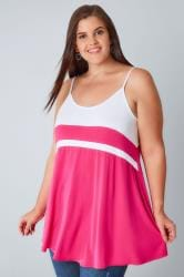 White & Hot Pink Colour Block Cami Top