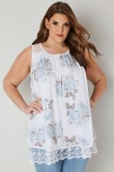 White & Light Blue Floral Lace Top