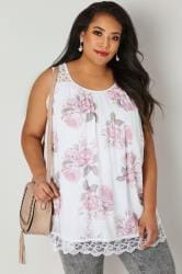 White & Light Pink Floral Lace Top
