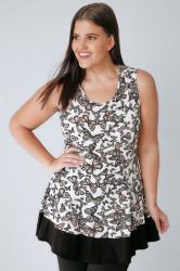 White & Multi Butterfly Print Sleeveless Peplum Top