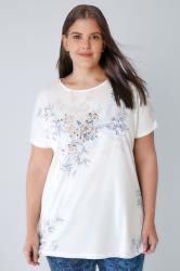 White & Multi Embellished Floral Print Top