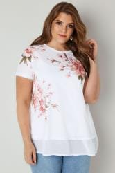 White & Multi Embellished Floral Print Top With Chiffon Hem
