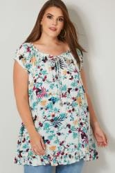 White & Multi Floral & Butterfly Print Gypsy Top