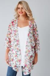 White & Multi Floral Print Chiffon Kimono With Waterfall Front