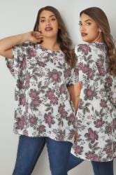White & Multi Floral Print Oversized Top With Grown-On Sleeves