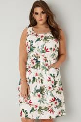 White & Multi Floral Print Pocket Dress With Elasticated Waist