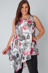White & Multi Floral Print Sleeveless Chiffon Top With Asymmetric Hem