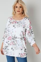 White & Multi Floral Print Top With Ruched Sides