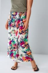 White & Multi Tropical Print Wrap Midi Skirt