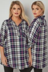 White, Navy & Multi Oversized Checked Shirt With V-Neck