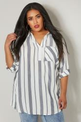 White & Navy Striped Longline Pocket Shirt