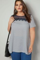 White & Navy Striped Top With Mesh Neckline & Floral Embroidery
