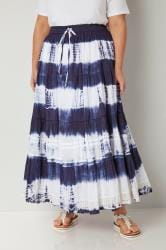 White & Navy Tie Dye Tiered Maxi Skirt With Lace Trim Hem