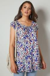 White, Pink & Blue Butterfly Print Gypsy Top