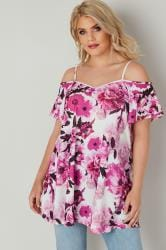 White & Pink Floral Cold Shoulder Jersey Cami Top