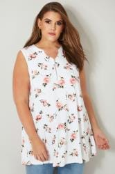 White & Pink Floral Jersey Top With Zip Front