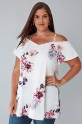 White & Pink Floral Palm Cold Shoulder Jersey Cami Top