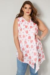 White & Pink Floral Print Sleeveless Top With Asymmetric Front