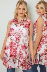 White & Pink Floral Print Sleeveless Shirt