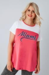 White & Pink 'Miami' Print T-Shirt
