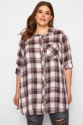 White & Red Check Boyfriend Shirt