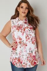 White & Red Floral Print Sleeveless Shirt