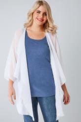 White Textured Chiffon Kimono With Waterfall Front