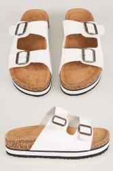 White Two Strap Cork Effect Platform Sandals In A EEE Fit