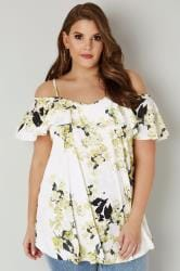 White & Yellow Floral Print Frill Cold Shoulder Top