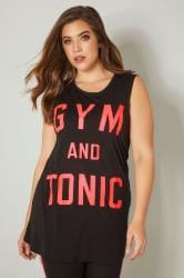 YOURS ACTIVE Black 'Gym & Tonic' Slogan Vest Top