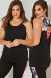 YOURS ACTIVE Black & Grey Marble Print Cut Out Vest Top
