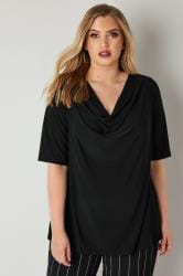 YOURS LONDON Black Cowl Neck Jersey Top