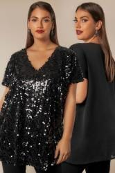 LUXE Black Disc Sequin Cape Top